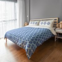 Designs Direct Medallions Queen Duvet Cover in Blue