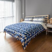 Designs Direct Geo Triangles Queen Duvet Cover in Blue