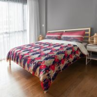 Designs Direct Drippy Ikat Flowers Twin Duvet Cover in Pink