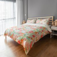 Designs Direct Retro Bright Blooms Queen Duvet Cover in Pink