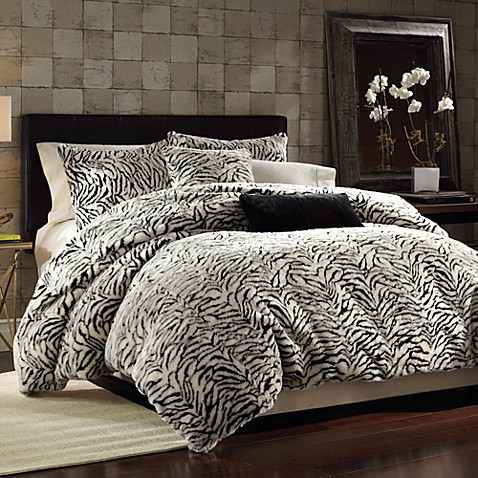 White Tiger Faux Fur Duvet Cover Set Bed Bath Amp Beyond