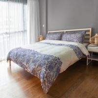 Designs Direct Floral Lace Queen Duvet Cover in Blue