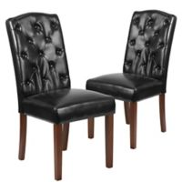 Flash Furniture Parsons Tufted Leather Chairs in Black (Set of 2)