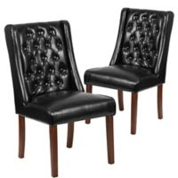 Preston Tufted Leather Parsons Chairs in Black (Set of 2)