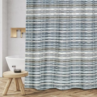 Myra Woven Jacquard Shower Curtain In Blue