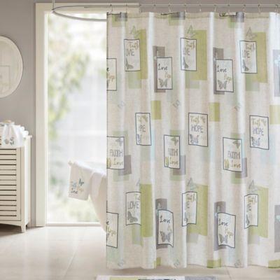 Madison Park Faith Hope Love Shower Curtain In Aqua