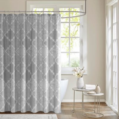 grey shower curtain liner. Madison Park Cadence Cotton Sateen Shower Curtain in Grey Buy from Bed Bath  Beyond