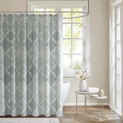 Madison Park Cadence Cotton Sateen Shower Curtain In Aqua