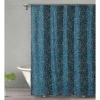Tropical Midnight Shower Curtain in Dark Green