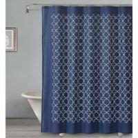 Sophia Tile Shower Curtain in Navy