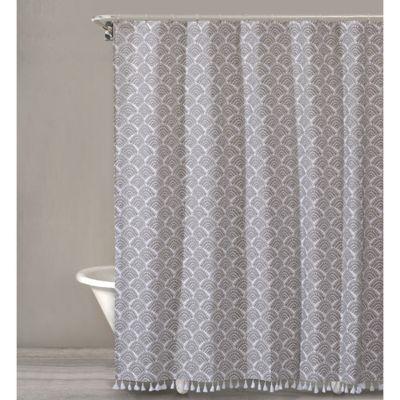 Mermaid Dots Shower Curtain In Beige