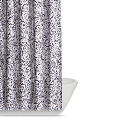 Truly Soft Watercolor Paisley Shower Curtain In Eggplant