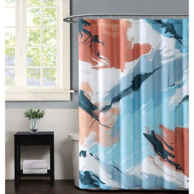 Vince Camuto Capri Shower Curtain In Blue And Coral