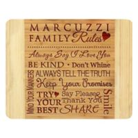 Stamp Out Family Rules 11-Inch x 14-Inch Bamboo Cutting Board