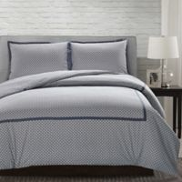 Andrew Reversible Queen Duvet Cover Set in Grey