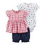 carter's® Size 3M 3-Piece Checkered Floral Bodysuit, Shirt and Short Set in Red/White