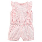 carter's® Size 24M Striped Ruffle Sleeve Romper in Pink/White