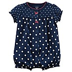 carters® Size 3M Strawberry and Polka Dot Snap Front Romper in Navy