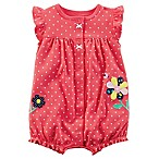 carters® Newborn Flower and Polka Dot Snap Front Romper in Pink