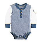 Burt's Bees Baby® Size 6-9M Henley Patch Bodysuit in Blue/White
