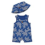 Boppy® Size 3M 2-Piece Elephant Shortall and Hat Set in Navy