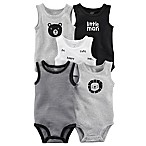 carter's® Size 3M 5-Pack Sleeveless Bodysuits in Grey/Black