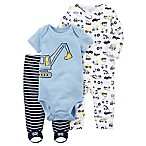 carter's® Newborn 3-Piece Construction Sleep & Play Footie, Bodysuit, and Pant Set in Blue