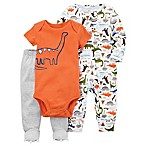 carter's® Size 3M 3-Piece Dinosaur Sleep & Play Footie, Bodysuit, and Pant Set in Orange