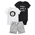 carter's® Size 3M 3-Piece  Happy, Little & Loud  Bodysuit, Shirt and Short Set in Black