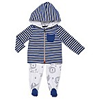Boppy® Size 3M 2-Piece Stripe Hooded Cardigan and Pant Set in Blue