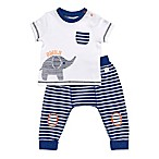 Boppy® Size 3M 2-Piece Elephant Shirt and Pant Set in Navy