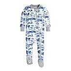 Burt's Bees Baby® Size 0-3M Distressed Camo Footie in Blue