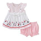 Nautica Kids® Size 6-9M 2-Piece Sailboat Dress and Diaper Cover Set in Pink