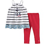 Nautica Kids® Size 12M 2-Piece Striped Top and Stretch Legging Set