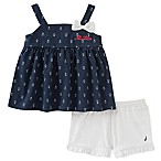 Nautica Kids® Size 12M 2-Piece Anchor Print Top and Short Set in Navy/White