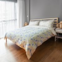 Designs Direct Watercolor Florals King Duvet Cover in Blue