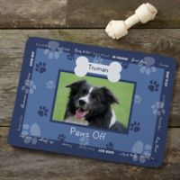 Throw Me a Bone Photo Dog Food Mat in Blue
