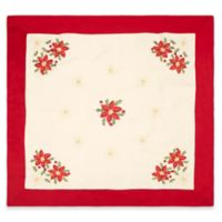 Creative Home Ideas Poinsettia Embroidered 36-Inch Square Table Topper
