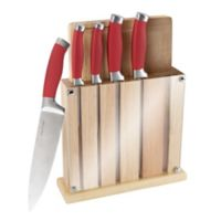 Classic Cuisine 7-Piece Knife Block with Cutting Board Set in Red