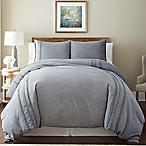 Pacific Coast Textiles Lace Linen Queen Duvet Cover Set in Grey