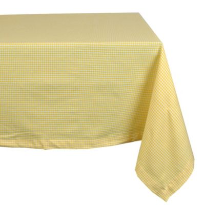 Design Imports Check 60 Inch X 104 Inch Oblong Tablecloth In Yellow