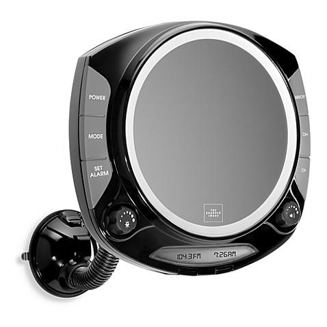 the sharper image fogfree shower mirror with radio