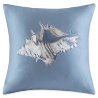 Harbor House Ocean Stripe Embroidered Sea Shell Square Throw Pillow in Blue