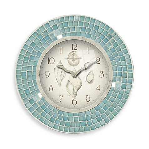 Firstime blue mosaic 11 1 2 inch seashell clock bed for Seashell wall clock