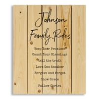 Designs Direct Family Rules 18-Inch x 22-Inch Wooden Wall Art
