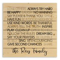 Designs Direct Family Rules 21-Inch Square Wooden Wall Art