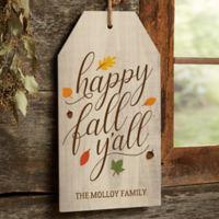 Happy Fall Y'all 17-Inch x 9.5-Inch Wood Wall Tag