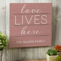 Love Lives Here 12-Inch Square Wood Slat Sign