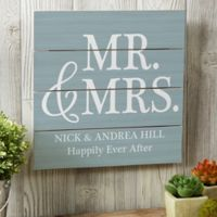 Mr. & Mrs. 12-Inch Square Wood Slat Sign