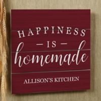 Happiness is Homemade 12-Inch Square Wood Slat Sign